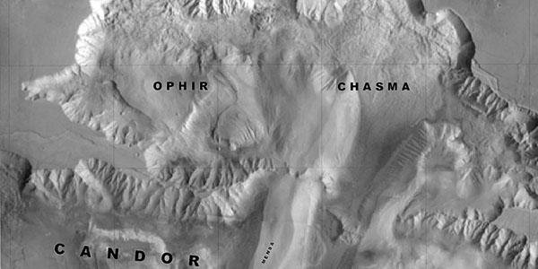 Section of an image map for Candor and Ophir Chasmata