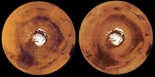 Viking (left) and MGS (right) views of the northern hemisphere of Mars in polar orthographic map projections.