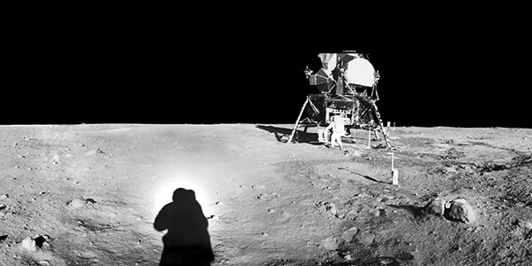 This panorama was collected by Neil Armstrong from a spot east of the landing module while Buzz Aldrin was unloading the science packages.