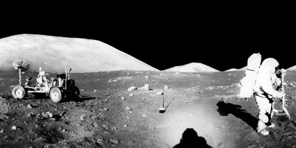 Panarama from Apollo 17 showing NASA astronaut and former USGS scientist, Jack Schmitt