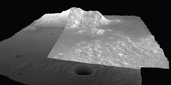 Perspective views of the central peak of Tsiolkovskiy crater Digital elevation data derived from Apollo Panoramic images
