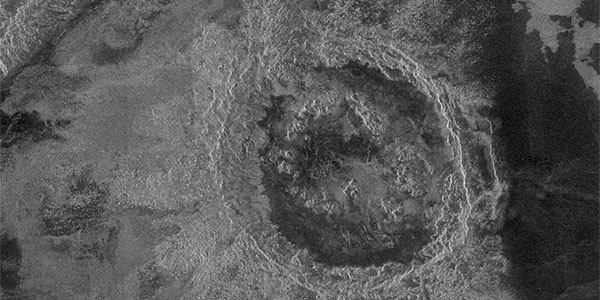 Cochran double-ring basin crater - a large crater containing only a single concentric ring inside the crater rim.