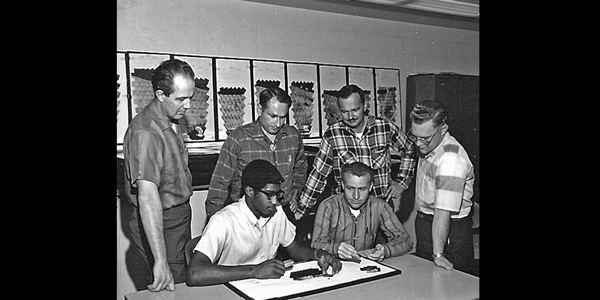 USGS Astrogeology Surveyor Project Television  Experiment Team (Jan 1968). Ray Batson (left), R.A. Henry (seated), Henry   Holt, Ken Stice (seated) Gene Shoemaker, Elliot Morris.