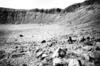 Meteor Crater, Arizona. Inside the crater. In the foreground, an alluvial fan with rows of boulders bordering channels. Photo taken by G. K. Gilbert, 1891.