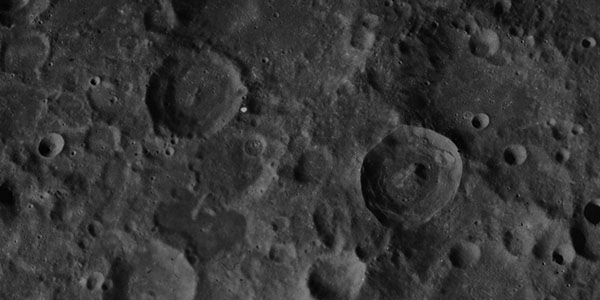 A closeup of the lunar surface
