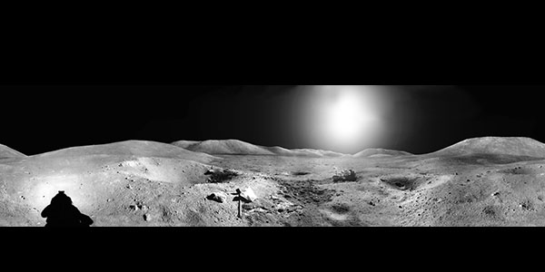 Apollo 16 panorama collected by Charles Moss Duke at Station 2. John Watts Young is at the rover. Spook Crater in the foreground.